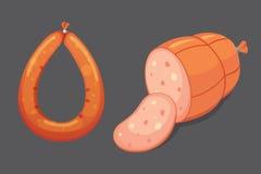 Комплект сосиски шаржа вектора Бекон, отрезанное салями и закуренный кипеть свежие значки деликатеса зажжено бесплатная иллюстрация