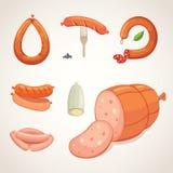 Комплект сосиски шаржа вектора Бекон, отрезанное салями и закуренный кипеть Изолированные свежие значки деликатеса зажжено бесплатная иллюстрация