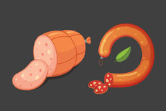Комплект сосиски шаржа вектора Бекон, отрезанное салями и закуренный кипеть свежие значки деликатеса зажжено иллюстрация штока
