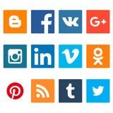 Комплект социальных значков сети Значки веб-дизайна плоские изолированные на белой предпосылке Стоковое Изображение