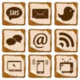 Комплект социальных значков Стоковое Изображение