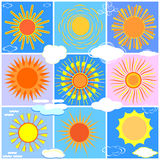 Комплект солнец и облаков бесплатная иллюстрация