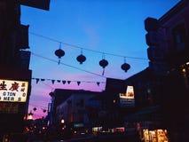 Комплект солнца Сан-Франциско городка Китая стоковые изображения