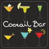 Комплект спиртного искусства коктеилей стилизованного Стоковая Фотография