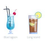 Комплект спиртными изолированных коктеилями холодных напитков плодоовощ vector иллюстрация бесплатная иллюстрация