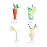 Комплект спиртными и помадки спирта партии изолированных коктеилями собрания свежести холодных напитков плодоовощ тропических кос иллюстрация штока