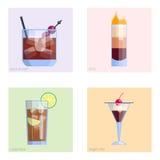 Комплект спиртными и помадки спирта партии изолированных коктеилями собрания свежести холодных напитков плодоовощ тропических кос иллюстрация вектора
