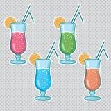 Комплект спиртных коктеилей изолированных на белой предпосылке Стоковые Фото