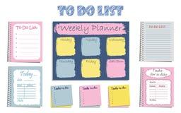 Комплект ` списка дел ` 8 плановиков для организовать день Стоковое Изображение