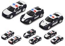 Комплект спортивной машины полиции вектора равновеликий высококачественный Значок полиции иллюстрация штока