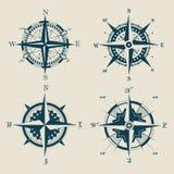 Комплект старого или ретро компаса или ветра поднял Стоковая Фотография