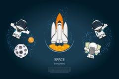 Комплект старта челнока withSpace иллюстрации вектора современного дизайна, астронавта, планеты исследование и новая технология в Стоковая Фотография