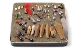 Комплект старых изолированных прикормов для рыбной ловли льда, Стоковые Фото