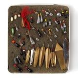 Комплект старых прикормов для рыбной ловли льда Стоковое Изображение