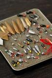 Комплект старых прикормов для рыбной ловли льда Стоковые Фото