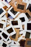 Комплект старых скольжений, фото и фильма на таблице Стоковое фото RF