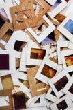 Комплект старых скольжений, фото и фильма на таблице Стоковые Фотографии RF