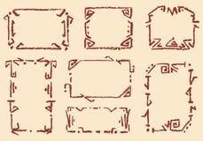Комплект старых этнических handmade рамок Предпосылка мела Crayon нарисованная рукой сделанная по образцу бесплатная иллюстрация