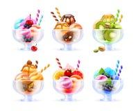 Комплект стекла мороженого шербета иллюстрация вектора