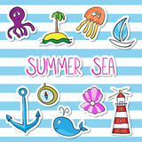 Комплект стикера кита, шлюпки, острова, анкера, осьминога, jelifish, l Иллюстрация вектора