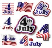 Комплект стикера 4-ое июля Стоковые Фотографии RF