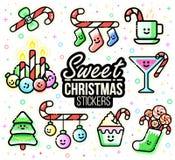 Комплект стикера характеров рождества Тросточки конфеты, орнаменты, чулки, пить, свечи, украшения Xmas Плоская линия стиль иллюстрация вектора
