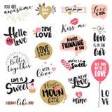 Комплект стикеров и значков дня валентинки иллюстрация вектора