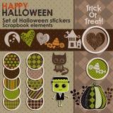 Комплект стикеров или значков хеллоуина Стоковое фото RF