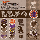 Комплект стикеров или значков хеллоуина Стоковое Изображение