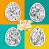 Комплект стикеров пасхальных яя с картинами фантазии Стоковое Изображение RF