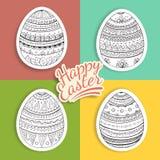 Комплект стикеров пасхальных яя с картинами фантазии Стоковое Фото