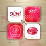 Комплект стикеров помадки или десерта Стоковое Фото