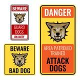 Комплект стикеров с остерегает плохую иллюстрацию вектора знаков собаки иллюстрация штока