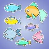Комплект стикеров с различными рыбами в stile шаржа Иллюстрация штока