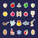 Комплект стикеров Rosh Hashanah в плоском стиле Стоковые Изображения