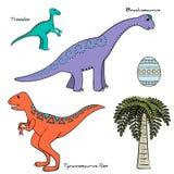 Комплект стилизованного динозавра с именами Стоковое Фото