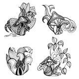Комплект стилизованных грибов на белой предпосылке Стоковые Фото