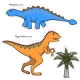 Комплект 2 стилизованных динозавров и деревьев Стоковая Фотография