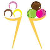 Комплект стилизованных конусов мороженого Стоковое Изображение RF