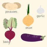 Комплект стилизованных овощей вектора Стоковые Фотографии RF