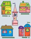 Комплект стилизованных домов Стоковое Изображение RF