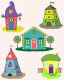 Комплект стилизованных домов Стоковое Фото