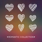 Комплект стилизованных сердец украшения Рук-чертежа бесплатная иллюстрация