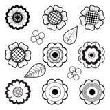 Комплект стилизованных цветков и листьев Стиль Mehndi Стоковые Фотографии RF
