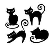 Комплект стилизованных черных котов Стоковая Фотография RF