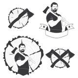 Комплект стильного lumberjack логотипов Стоковая Фотография