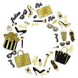 Комплект стильных аксессуаров ` s женщин Иллюстрация вектора для карточки или плаката Печать на одеждах Способ иллюстрация вектора