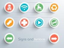 Комплект стильных знаков и символов Стоковые Изображения