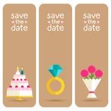 Комплект 3 стильных знамен, wedding приглашений Стоковая Фотография RF
