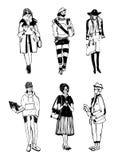 Комплект стильных людей с устройствами на улице, собрании моды эскиза Стоковая Фотография RF